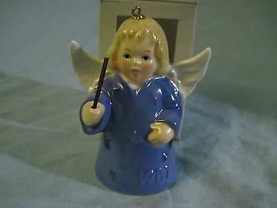 1987 Goebel ANGEL BELL ORNAMENT Blue with Baton in Box