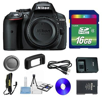 Nikon D5300 24.2MP Digital SLR Camera Body + 16GB Memory Card + Cleaning Kit