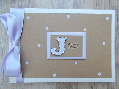 Personalised Babys First Year Photo Album Scrapbook/Memory Gift With Box