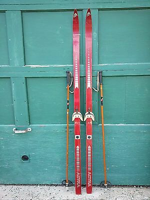 "Old Set of 70"" Long Wooden RED Skis with Ski Poles"