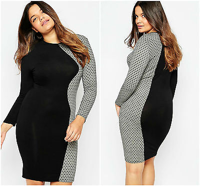 Plus Size Midi Dress Ladies Evening With Geo Daisy Side Panel 20 22 24 26 28