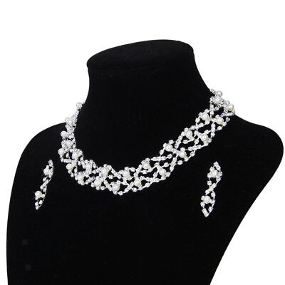 Bridal Wedding PROM Jewelry Pearl Crystal Diamante Twisted Necklace Earring Set