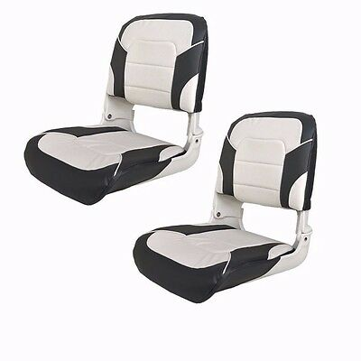 Charcoal / Off-White Deluxe All Weather Boat Folding Fishing Seats (Pair) 75140W