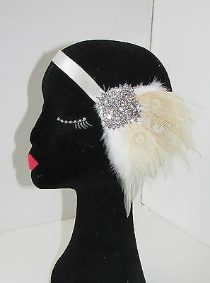 Ivory Cream Silver Peacock Feather Fascinator Headpiece 1920s Headband Vtg 80