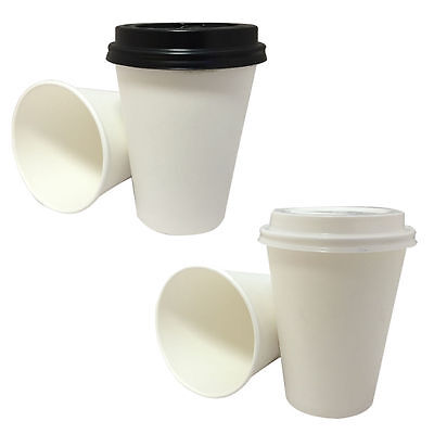 WHITE COFFEE/TEA CUPS & SIP LIDS Disposable Paper 8oz Catering