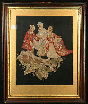 ANTIQUE EARLY AMERICAN 1800s HAND EMBROIDERED SILK THREAD SAMPLER COURTING SCENE