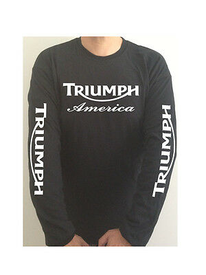 TRIUMPH AMERICA SLEEVE PRINT  motorcycle t-shirt SEE BOTH PHOTOS