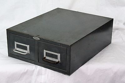 Vintage Index Card Drawer Metal Rolodex 16 inches x 13 x 5