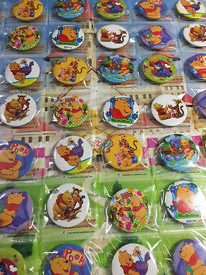 6pcs Winnie the pooh 30mm Plastic Badge Brooch Pin Birthday Party Lolly Bag Gift