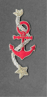 Anchor - Nautical - Red Anchor W/Silver Rope - Embroidered Iron On Patch