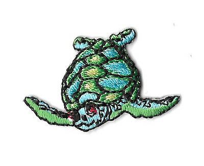 Sea Turtle - Embroidered Iron On Applique Patch - SMALL - LEFT