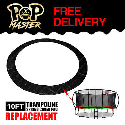 Replacement 10FT Trampoline Spring Cover Pad Round Spare Part - Black