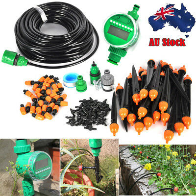 Automatic 25M Micro Irrigation System Water Timer Spray Garden Watering Hose Kit