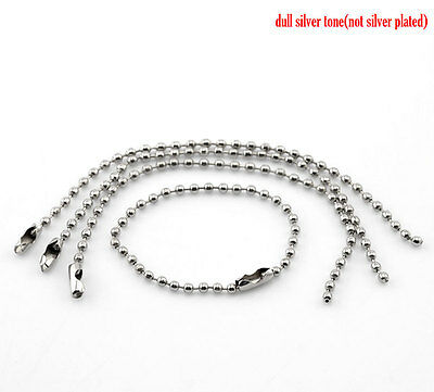 25 QUALITY 12cm SILVER TONE BALL CHAIN & CONNECTOR ~Great for tags~labels (CH18)