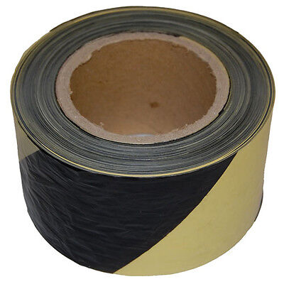 75mm x 500m Yellow Black Barrier Tape Danger Hazard Warning Non Adhesive 1 Roll
