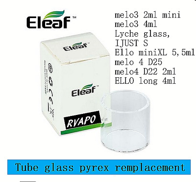 eleaf tube glass:melo 4 /ello miniXL 5.5ml /melo3 4ml / 2ml mini / Lyche/ iJustS