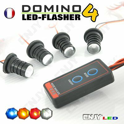 KIT DOMINO FLASHER 4 LED luces estroboscópicas bombilla fuego penetración FLASH