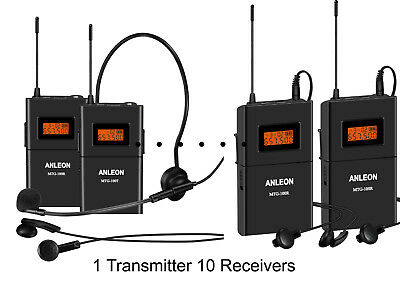 Wireless Acoustic Transmission System tour guide 10 Receivers with Case