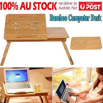 Portable Laptop Desk Notebook Stand Table Sofa Bed Multi Function Fine Bamboo AU