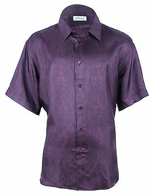 Brioni Men's Maroon Patterned Silk Shirt Short Sleeve, size I (14.5), VII (17)