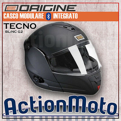 Casco Origine Modulare Tecno Nero Opaco Interfono Interphone Bluetooth Integrato