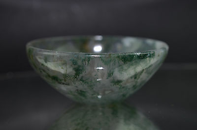 Moss Agate Bowl Hand Carved 55.08 mm Pure Gem Stone Handmade M110