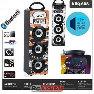 Linq Kbq-608 Cassa Altoparlante Portatile Bluetooth Radio Usb Led Multicolor