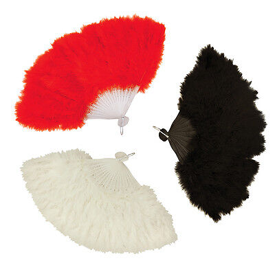 Ladies Black Red and White Feather Hand Fan Womens Fancy Dress Party Costume