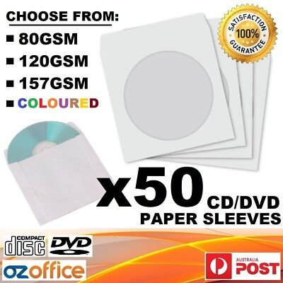 BRAND NEW 50 x CD DVD Paper Sleeve Envelope Premium High Quality 80 120 157 GSM