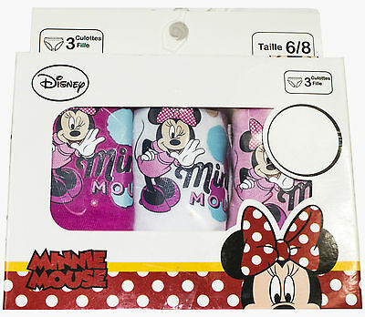 New Kids Girls Official Disney Minnie Mouse 3 Pack Of Briefs Underwear Knickers