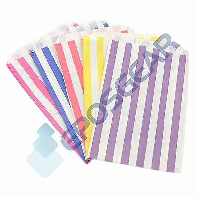 """100 Colour Coloured Candy Stripe Paper Sweet Gift Shop Kraft Party Bags 5"""" x 7"""""""