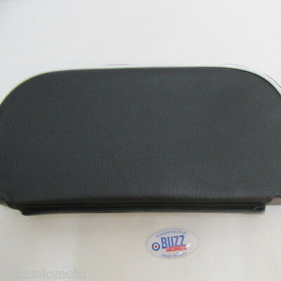 Mod Scooter Slipover Cuppini Backrest Pad Black Waffle with White Piping