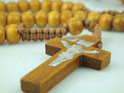 Light Brown Rope Wooden Beads Religious Necklace Rosary With Light Brown Cross