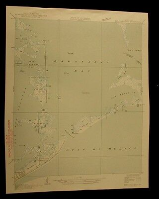 Barataria Pass Louisiana 1927 vintage USGS Topo color chart map