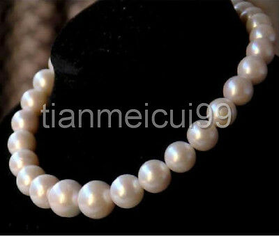 """hot new 12-13mm natural tahitian south sea white pearl necklace 18"""" 14k"""