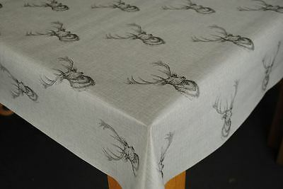 WipeClean Tablecloth Oilcloth Vinyl PVC Highland Stag Head Grey 140cm  wide