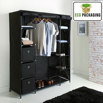 Deluxe Large Canvas Wardrobe Non Woven Easy Assembly Wardrobe Black