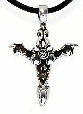 GOTHIC CROSS Silver Pewter Pendant Leather CORD Surfer