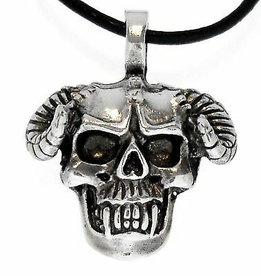 Gothic Demon SKULL Silver Pewter Pendant Leather Surfer