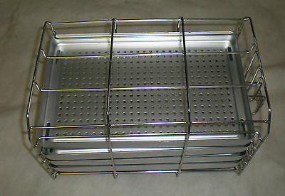 dental tray/perforated alum. tray, 4 trays in lovely stainless rack,, 1142