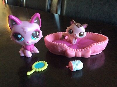 LPS Littlest Pet Shop # 2664 # 2665 RARE Mommy & Baby Persian Kitty Cat Wolf Fox