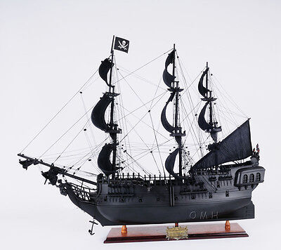 "Caribbean Pirate Tall Ship Black Pearl  28"" Wooden Model Sailboat Assembled"