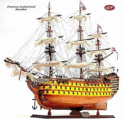 "HMS Victory Admiral Nelson Flagship Tall Ship 37"" Wood Model Sailboat Assembled"