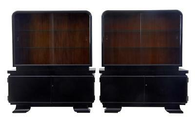 Stunning Pair Of Art Deco Black Lacquered Sideboard Vitrine