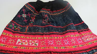 Hand Stitch Embroidered  Multi-Color Traditional  HMONG  Skirt.  SIZE.  S