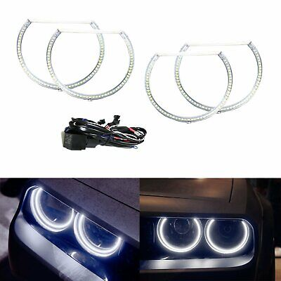 White LED Angel Eye Halo Rings Kit For 08-14 Dodge Challenger Headlight Retrofit