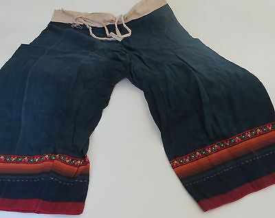 VINTAGE Hand Stitch Embroidered  Multi-Color Traditional  HMONG  Pants One size