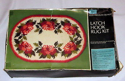 "ROSES Latch Hook Kit Rug Vintage Sears 26"" x 40"" Opened Not Started Orlon"