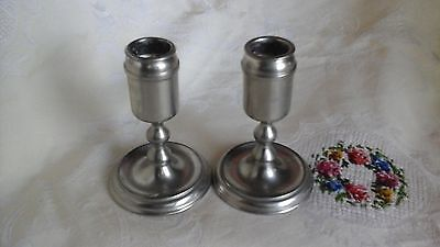 Vintage  Royal  Holland  Pewter  Candlesticks Signed Kmd With Crown Daalderop