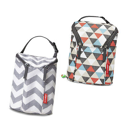 Skip Hop Bottle Bag-Carry Two Bottles/Baby Food-Include Freezer Pack-Insulated.